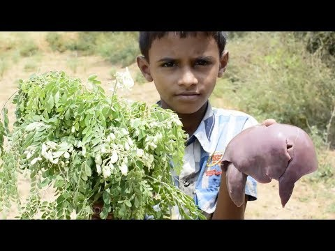 Small Boy Cooking Mutton liver with drumstick leaves | Goat liver cooking traditional way