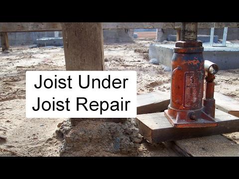 Installing Joist Under Damaged Joist – Crawlspace Floor Repair