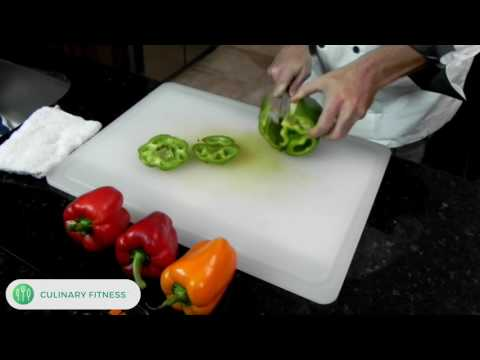 How to cut bell peppers - Knife Skills 101 with Chef Dennis Berry | Healthy Cooking Videos