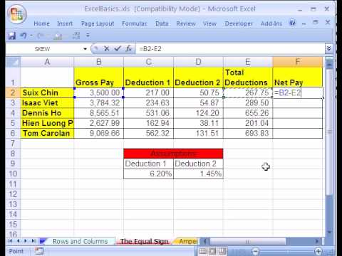 Excel Basics #3: Formulas w Cell References
