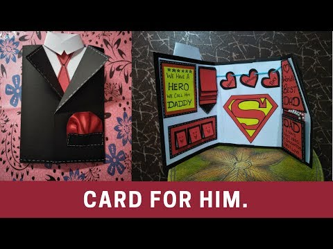 fathers day greeting cards | how to make card for fathers | how to make suit tuxedo card