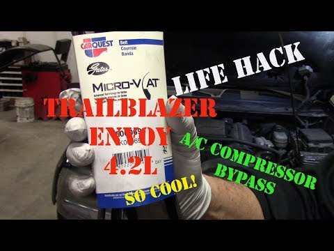 Chevy TrailBlazer GMC Envoy A/C Compressor Bypass Using Shorter Belt