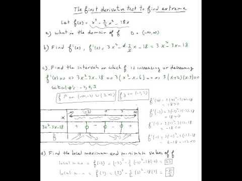 Finding relative minimum or maximum using first derivative test