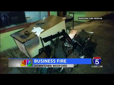 Combusting rags spark fire in downtown Medford
