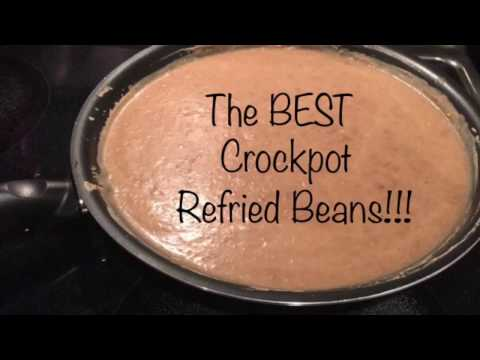 The BEST homemade refried beans in crockpot! Made pinto beans from scratch budget cooking