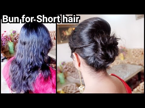 Karwachauth Special-Bun Hairstyle for SHORT Hair// Easy Indian festive Bun with puff hairstyle