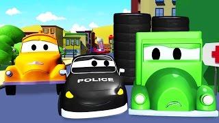 La Super Patrulla: camión de bomberos y patrulla de policía, y El ladrón de ruedas en Auto City