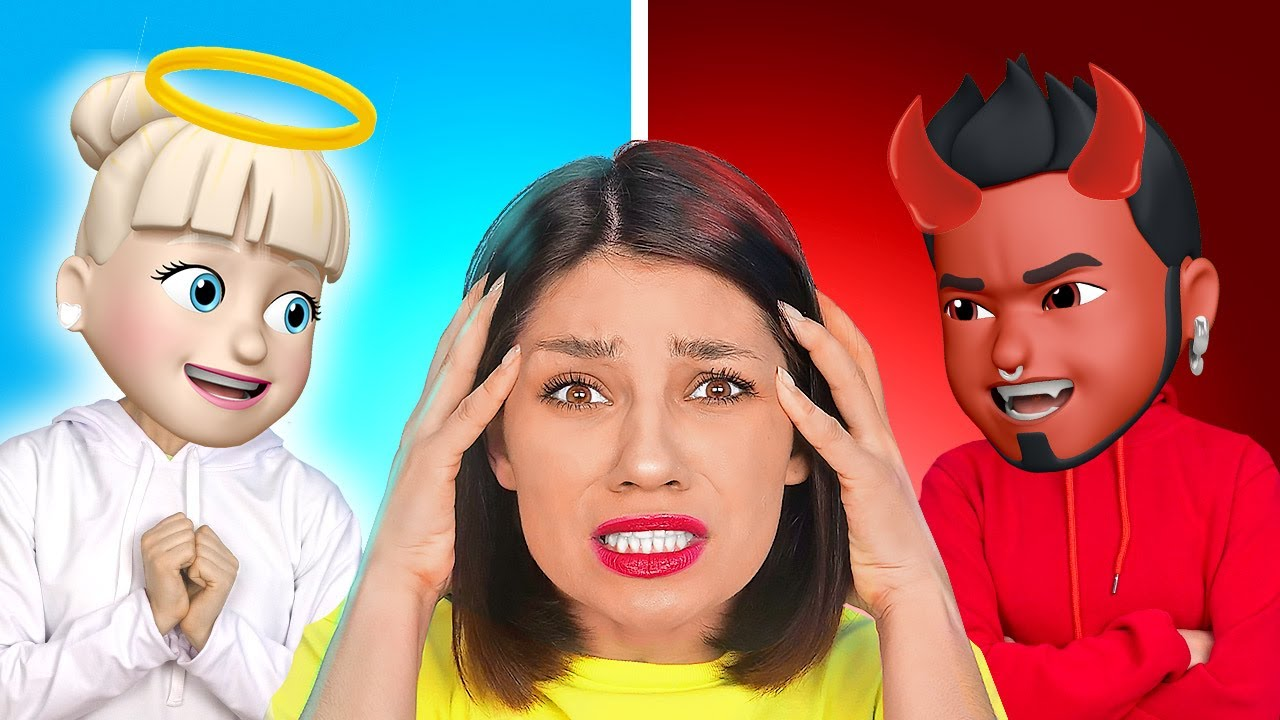 ANGEL VS DEMON CONTROL ME || Emoji Characters in Real Life! Good and Evil Rule by 123 GO! SCHOOL