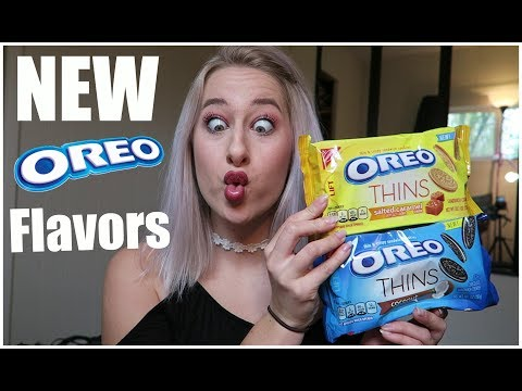 NEW OREO THIN TASTE TEST Limited Salted Carmel Coconut First Impression Girl Vs. Food