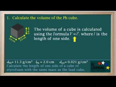 BCLN - Calculating Volume from Mass and Density - Chemistry