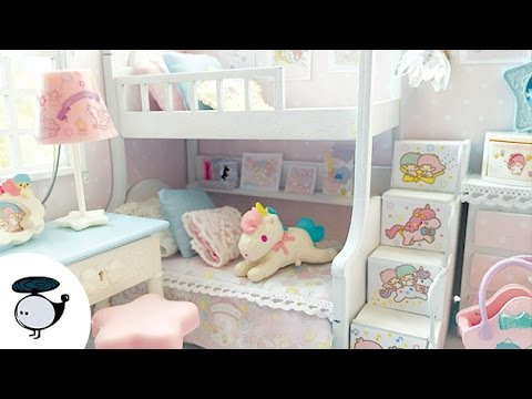 Little Twin Stars Dollhouse Miniature | Kawaii Pastel Doll Room with Re-ments