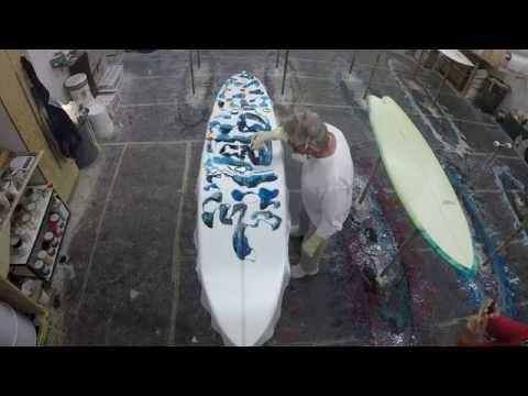Roger Hinds Surfboards Abstract Resin Design Blue Gun