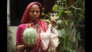 Village Food | Chicken and Green pumpkin curry | Grandmother recipes-89