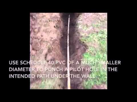 How to tunnel under concrete to install pipe with hand tools