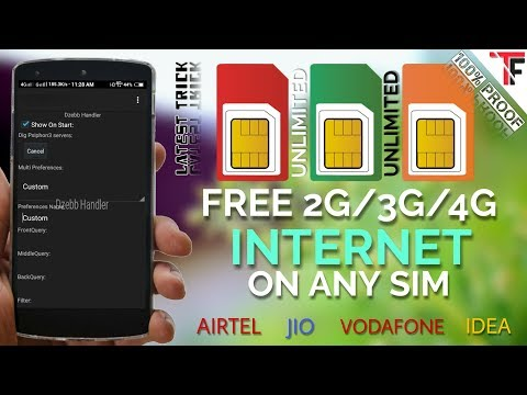 Free UNLIMITED 2G/3G/4G Internet On Any Sim | Airtel, Idea, Vodafone, Jio