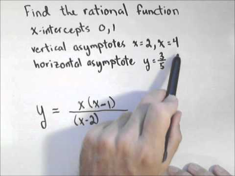 Finding a Rational Function Given Intercepts and Asymptotes