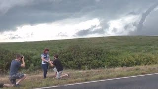 Storm Chaser Proposes to Girlfriend With Tornado Behind Them