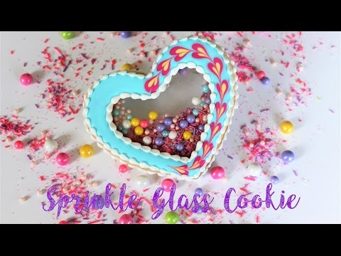 Valentine's Day Sprinkle Stained Glass Cookie