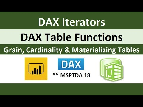 MSPTDA 18: DAX Iterators, Table Functions, Grain, Cardinality, Materializing Tables Excel & Power BI