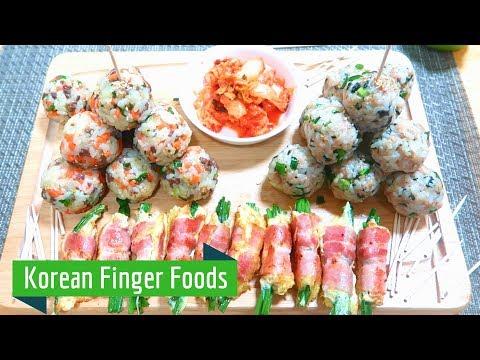 Korean Finger Food: Rice balls & Bacon-Enoki wraps