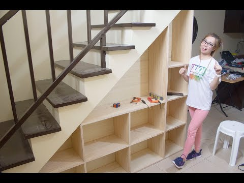 Building a Shelves under the Staircase with Storage