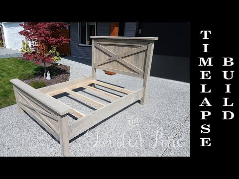 Custom Made Farmhouse Bed Build Timelapse - Quick Version - Twisted Pine Woodworking Co