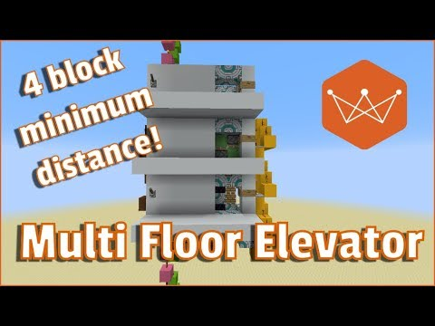 Minecraft Tutorial Multi Floor Elevator with call to floor function 4 block minimum floor spacing!