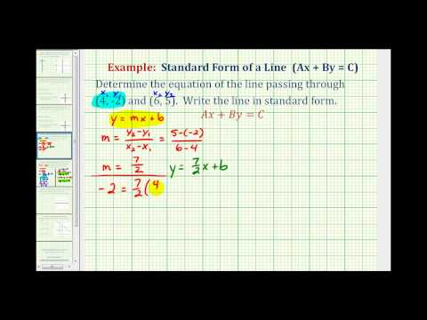 Ex 2: Find the Equation of a Line in Standard Form Given Two Points