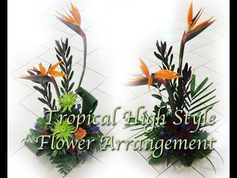 Fresh Tropical High Style Flower Arrangement with Bird of Paradise