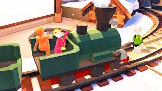 CHRISTMAS TRAIN DRIVING WITH FRIENDS! (Human Fall Flat Episode #6)