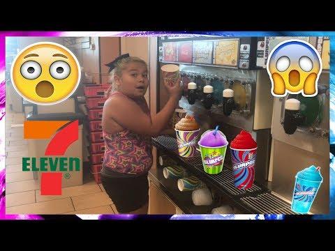 FREE SLURPEE DAY AT 7-ELEVEN! | IZZY GETS PRANKED IN 7-ELEVEN