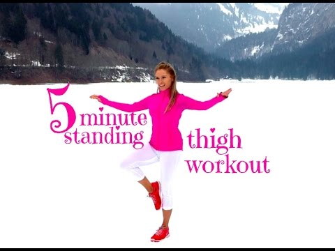 5 Minute Standing Thigh Toning Workout - by standing you get to tone that booty at the same time