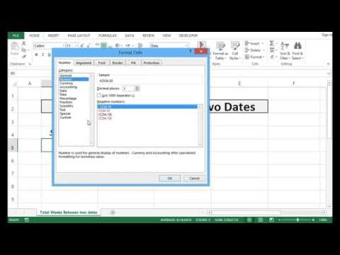 Calculate Total Weeks Between Two Dates - Excel 2013