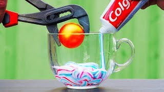 GLOWING 1000 DEGREE Metal Ball VS Colgate | 7 AWESOME Experiments