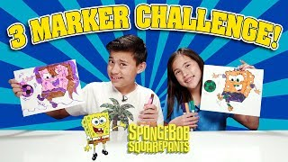 3 MARKER CHALLENGE!!! Spongebob Is a Girl, Squidward Dabs, Draw Your Own Patrick Star Art!