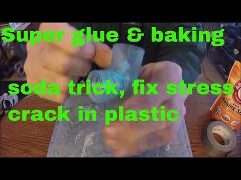 Super glue & baking soda trick, fix stress crack in plastic