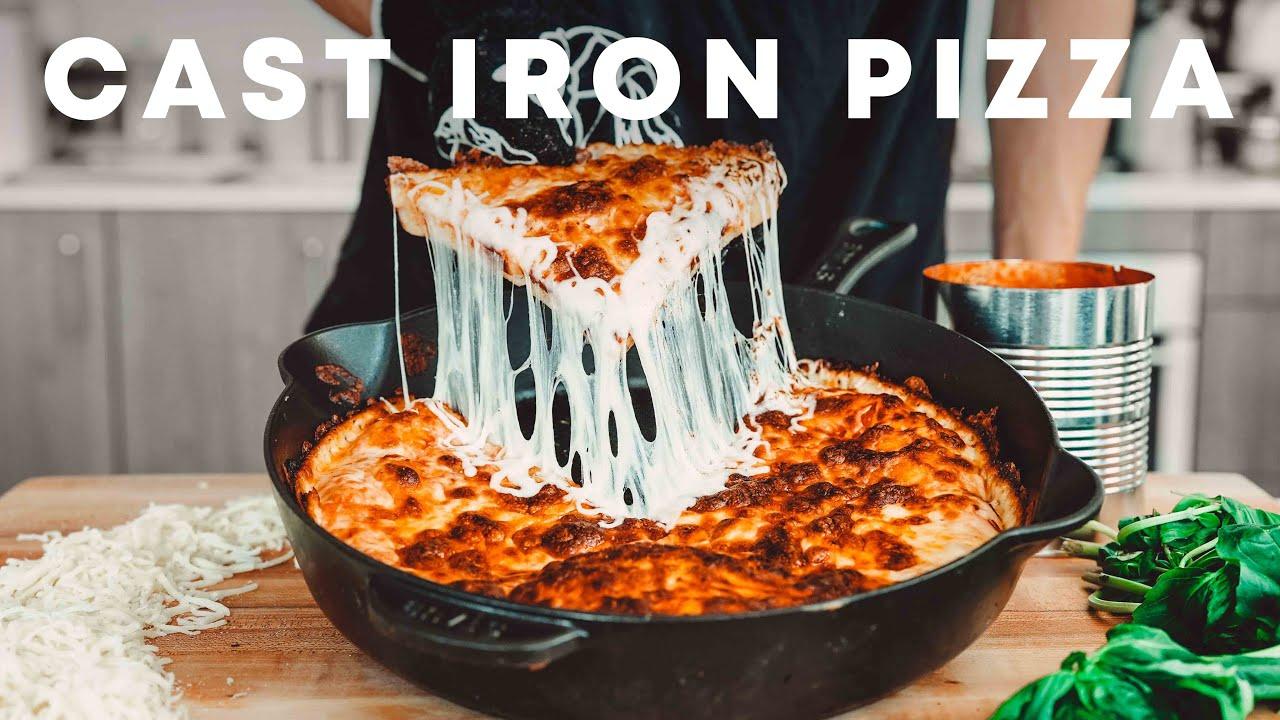 Cheesy Cast Iron Pan Pizza