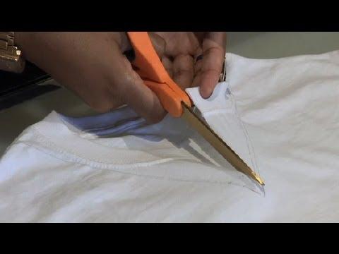 How to Cut a Regular T-Shirt Into a V-Neck : T-Shirt Styles