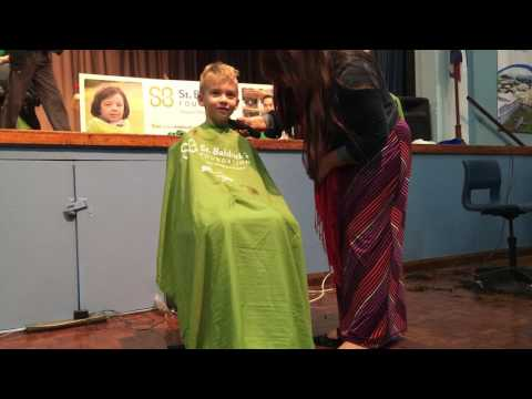 Oliver getting his head shaved for St. Baldrick's