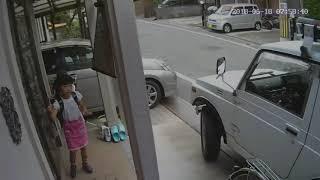 2018年6月18日7時58分38秒。大阪府北部地震発生の瞬間。驚いて逃げる子供たち。激しく揺れる車。