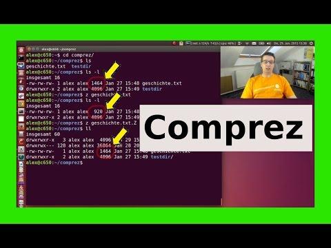 Linux komprimieren archivieren packen entpacken zip tar gz bz2 gzip lzip compress comprez [German]