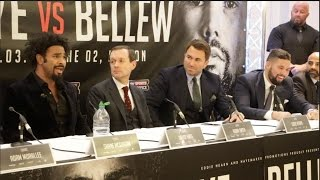 PROPER HEAVYWEIGHT BEEF!! - DAVID HAYE v TONY BELLEW *FULL & UNCUT* HEATED PRESS CONFERENCE