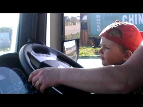 First driving lesson- Franek 2 years in mums Lorry