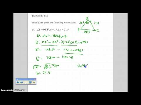 Law of Cosines:  Two Sides and Included Angle