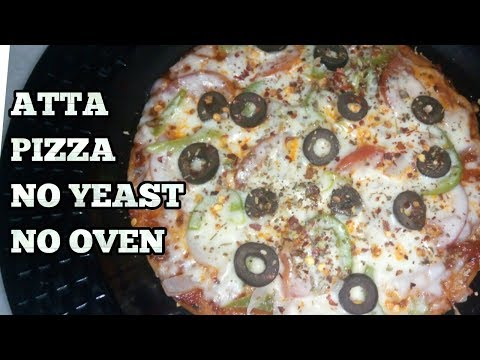 Atta Pizza Recipe-Pizza without yeast, without Oven-Pan Pizza-Whole Wheat thin Crust Pizza-Hindi