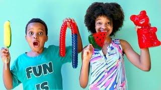 GUMMY vs REAL FOOD CHALLENGE - Bad Baby Shiloh and Shasha - Onyx Kids