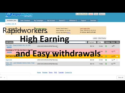 1000$ Per Month with  Rapidworkers Latest Tutorials !!!