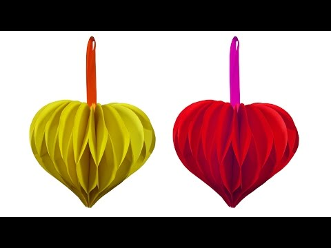 How to make beautiful love heart Flower Ball (Hanging Ball) - HD