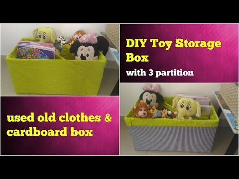 DIY STORAGE BOX FOR TOYS/BOOKS USING OLD CLOTHES & CARDBOARD, TOY MAKEUP ORGANIZER