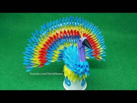 How to make a Peacock from plastic Straws crafts - Best Out Of Waste